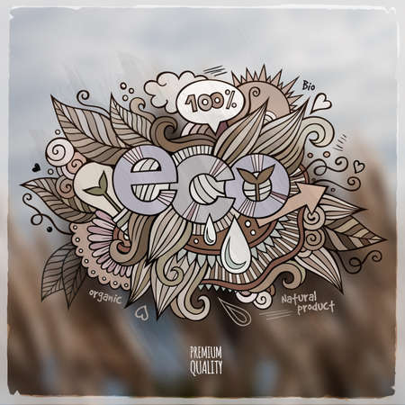 eco slogan: Letras de la mano de Eco y doodles elementos de ilustraci�n. Vector fondo borroso de los alimentos