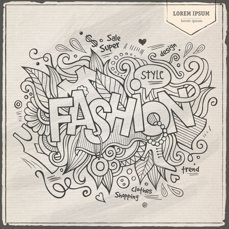 Fashion hand lettering and doodles elements background. Vector illustration Vector
