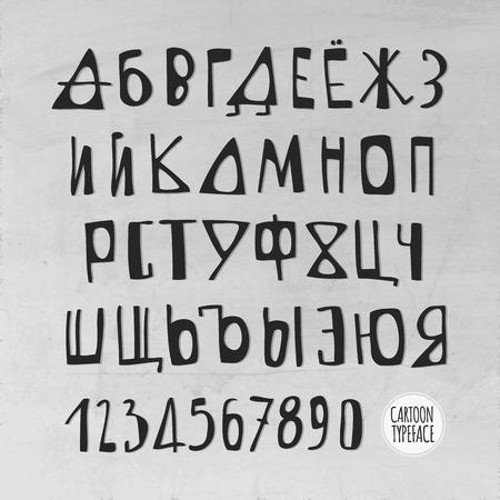 Hand Drawn cartoon Vector Russian Alphabet Letters Vector