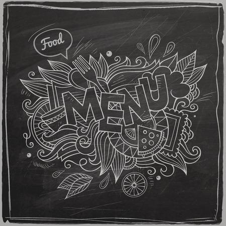 Menu hand lettering On Chalkboard Vector