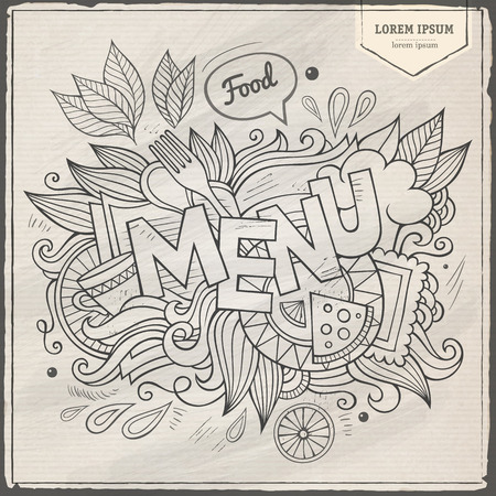 Menu hand lettering and doodles elements Vector