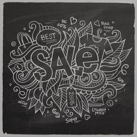 Sale Vector hand lettering On Chalkboard Vector