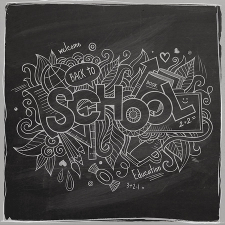 School Vector hand lettering On Chalkboard Vector