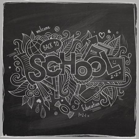 School Vector hand lettering On Chalkboard Vector