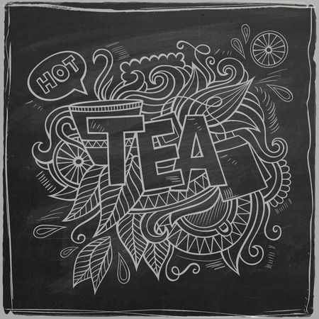 teatime: Tea hand lettering and doodles element On Chalkboard