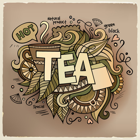 teatime: Tea hand lettering and doodles elements