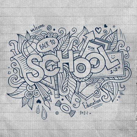 art back: School hand lettering and doodles elements Illustration