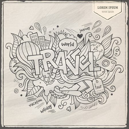 tour guide: Travel hand lettering and doodles elements Illustration