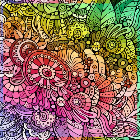 batik pattern: Abstract decorative cartoon multicolor rainbow floral background