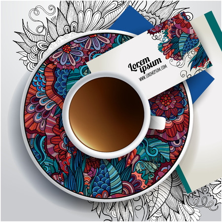 Cup of coffee, business cards