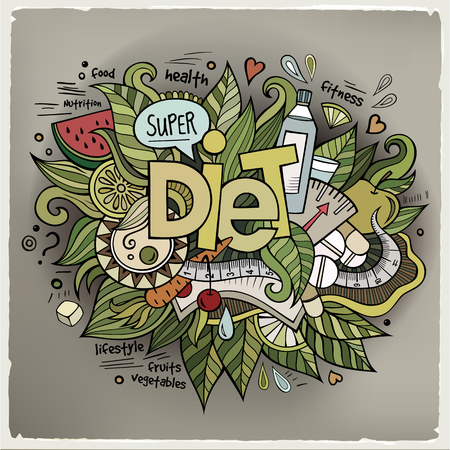 hand weight: Diet hand lettering and doodles elements background