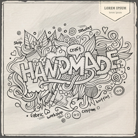 Handmade hand lettering and doodles elements background Vector