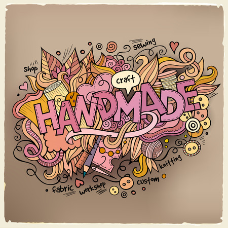 needle cushion: Handmade hand lettering and doodles elements background