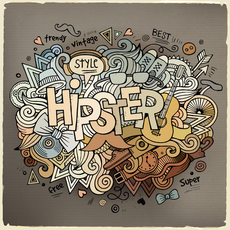 Hipster hand lettering and doodles elements background Vector