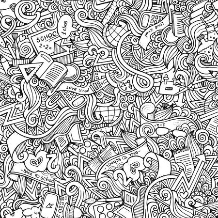 libro caricatura: escuela dibujado a mano patr�n transparente Vectores