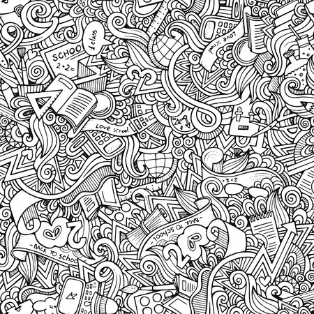 hand drawn school seamless pattern Illustration