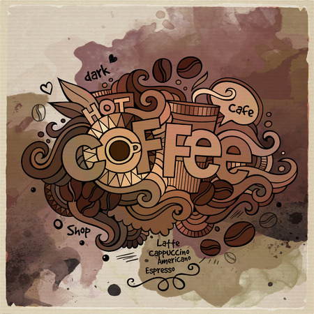 Coffee watercolor cartoon hand lettering and doodles elements Vector