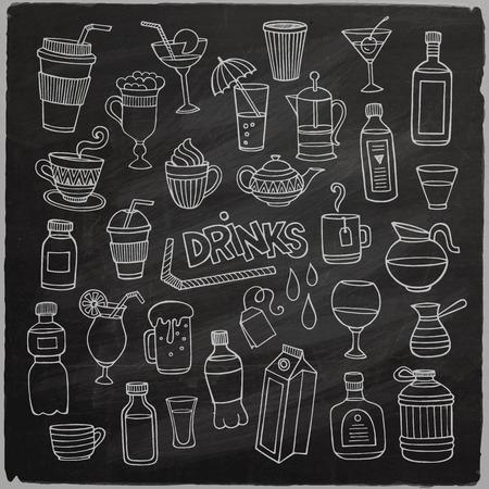 Векторный набор различных рисованной напитков на доске