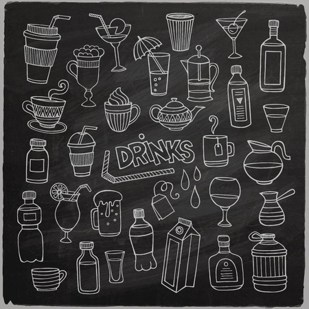 Vector set of different hand drawn beverages on chalkboard