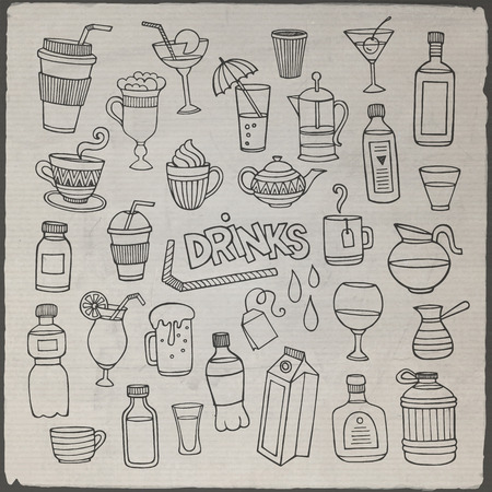 water jug: Vector set of different hand drawn beverages