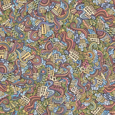 doodles hand drawn town  seamless pattern