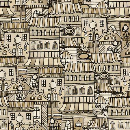 borough: vintage houses seamless pattern