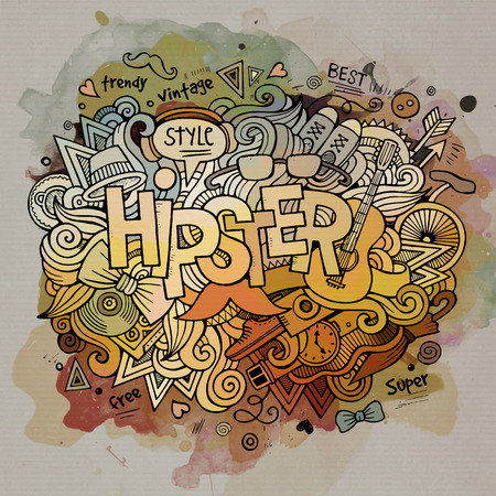 Hipster watercolor cartoon hand lettering and doodles elements Vector
