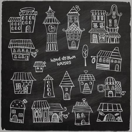 classics: chalkboard vector fairy tale houses