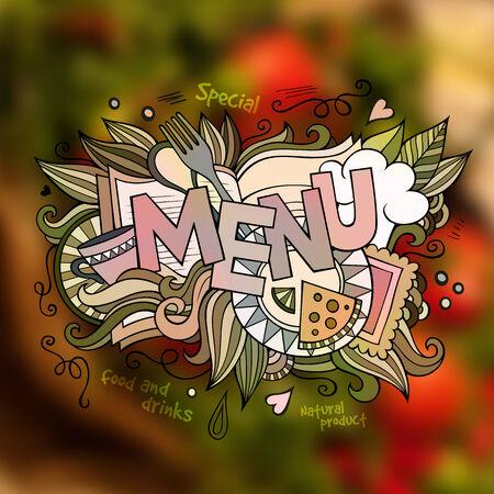 Menu hand lettering and doodles elements illustration Vector