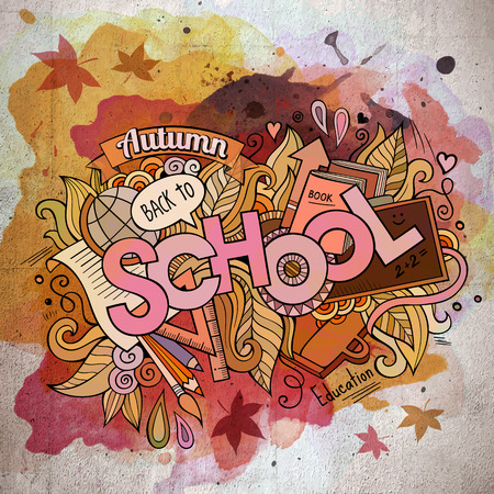 postcard back: School watercolor cartoon hand lettering and doodles elements Illustration