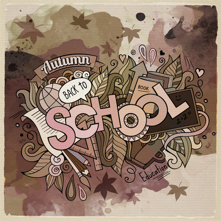 semester: School watercolor cartoon hand lettering and doodles elements Illustration