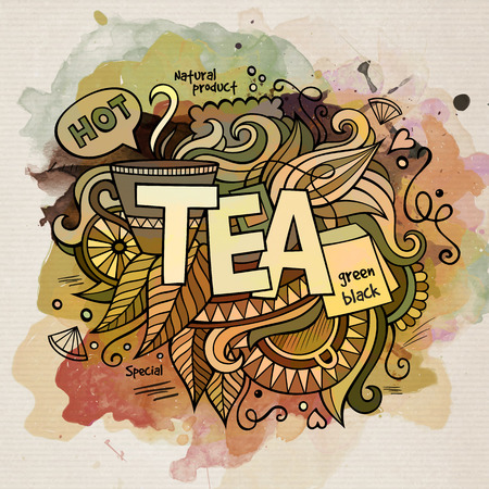 teatime: Tea watercolor cartoon hand lettering and doodles elements