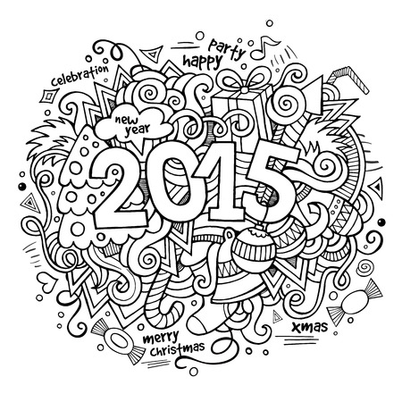 2015 year hand lettering and doodles elements background Vector