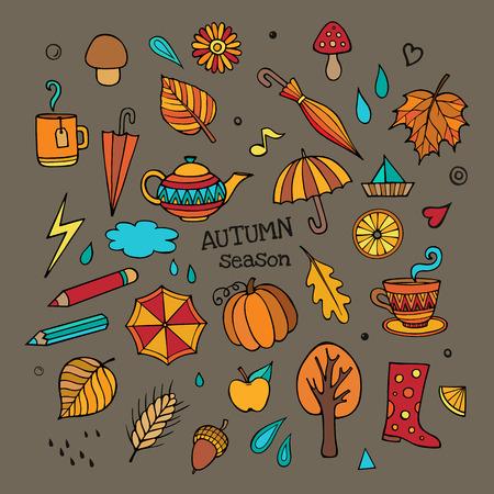 Vector set of different autumn elements Vector