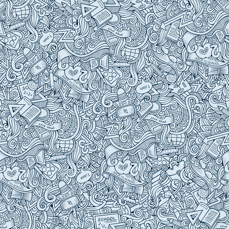 doodles hand drawn school seamless pattern Vector
