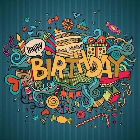 baile caricatura: Letras de la mano de cumpleaños y doodles elementos de fondo.