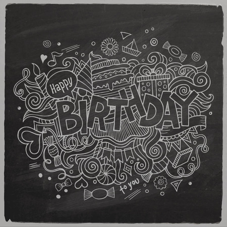 Birthday chalkboard background Ilustração