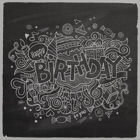 Birthday chalkboard background Illustration