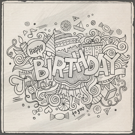 happy birthday cartoon: Birthday hand lettering and doodles elements background