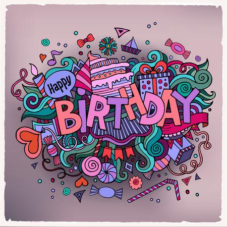 Letras de la mano de cumpleaños y doodles elementos de fondo