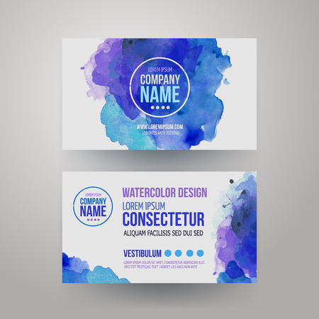 Vector template watercolor business cards Vector