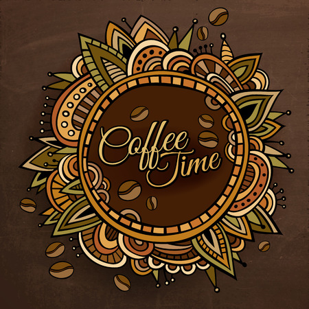 art and craft: Coffee time decorative border label design Illustration