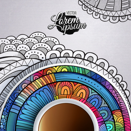 bezel: Cup of coffee and hand drawn ornament