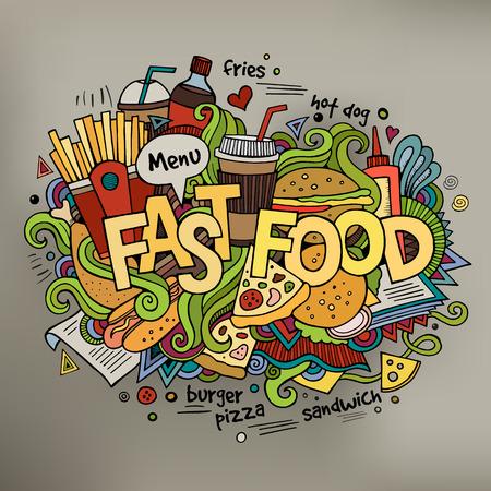 Fastfood hand belettering en doodles elementen achtergrond.