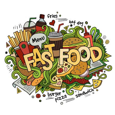 Fastfood hand belettering en doodles elementen achtergrond