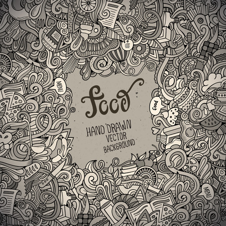 Abstract vector decorative doodles food background. Vector