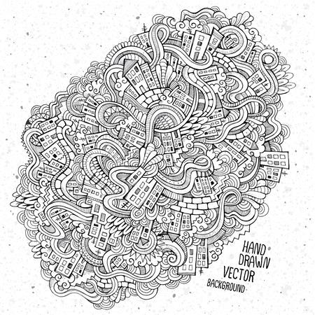 art door: doodles hand drawn houses sketch background