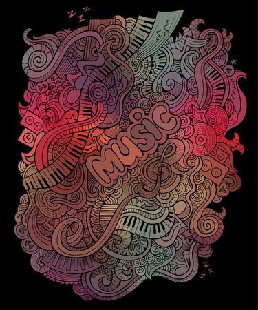 Vector doodles musical art background Vector