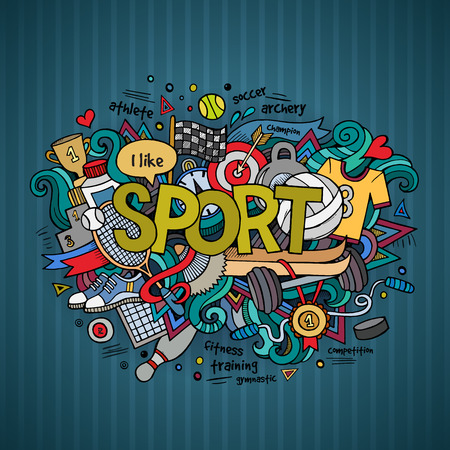 balones deportivos: Letras de la mano Deporte y doodles elementos de fondo.