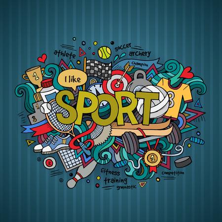 Sport hand belettering en doodles elementen achtergrond. Stock Illustratie